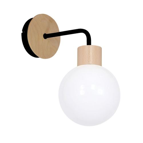 Bílá nástěnná lampa Bila černá 1x E27
