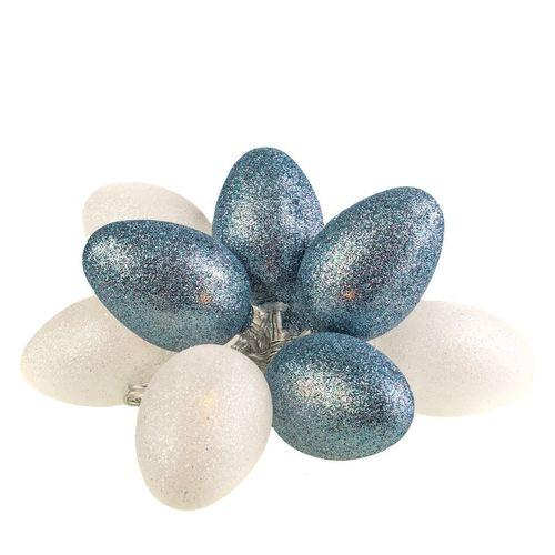 Velká plastová LED velikonoční vajíčka s bílým a šedým leskem