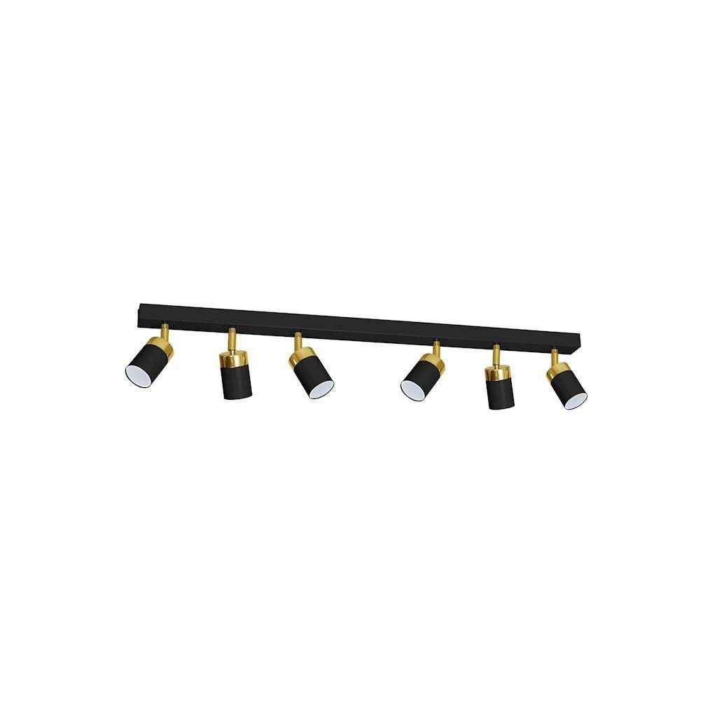 Černá stropní lampa Joker černá / zlatá 6x Gu10