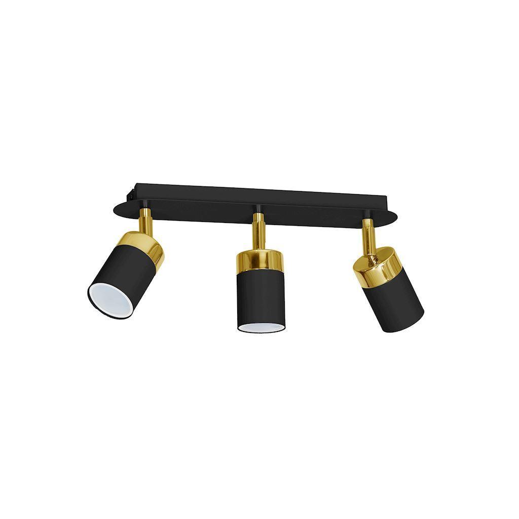 Černá stropní lampa Joker černá / zlatá 3x Gu10