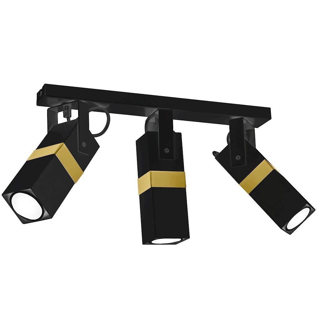 Černá stropní lampa Vidar černá / zlatá 3x Gu10