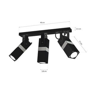 Černá stropní lampa Vidar Black / Chrome 3x Gu10 small 5