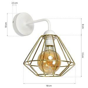Bílá nástěnná lampa Lupo bílá / zlatá 1x E27 small 6