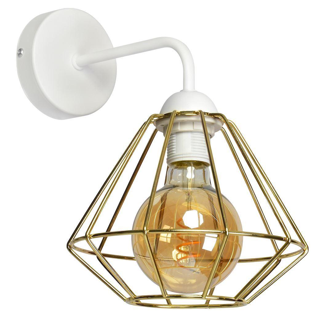 Bílá nástěnná lampa Lupo bílá / zlatá 1x E27