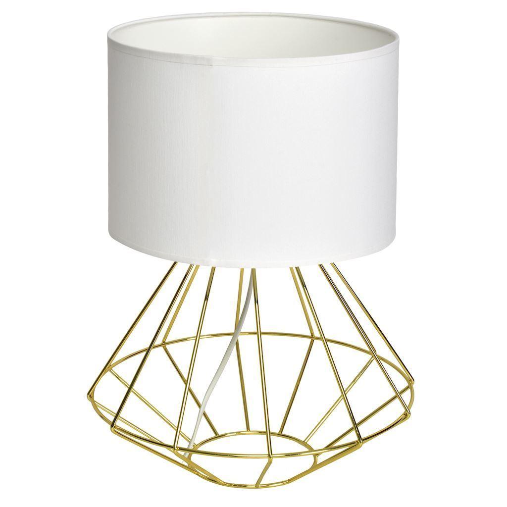 Bílá stojící lampa Lupo Wite / zlatá 1x E27