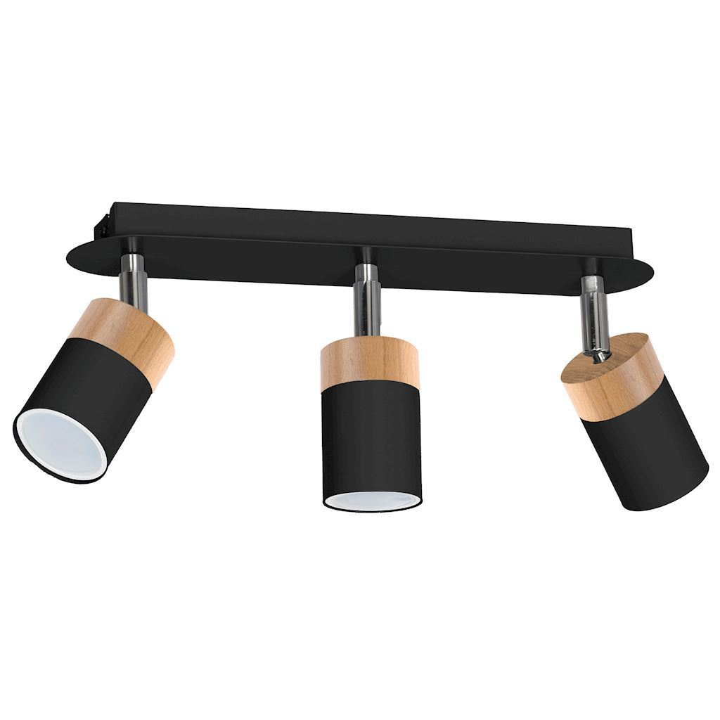 Černá stropní lampa Joker černá / dřevo 3x Gu10