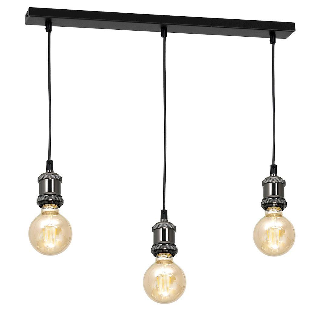 Černá závěsná lampa Edison Black / Chrome 3x E27