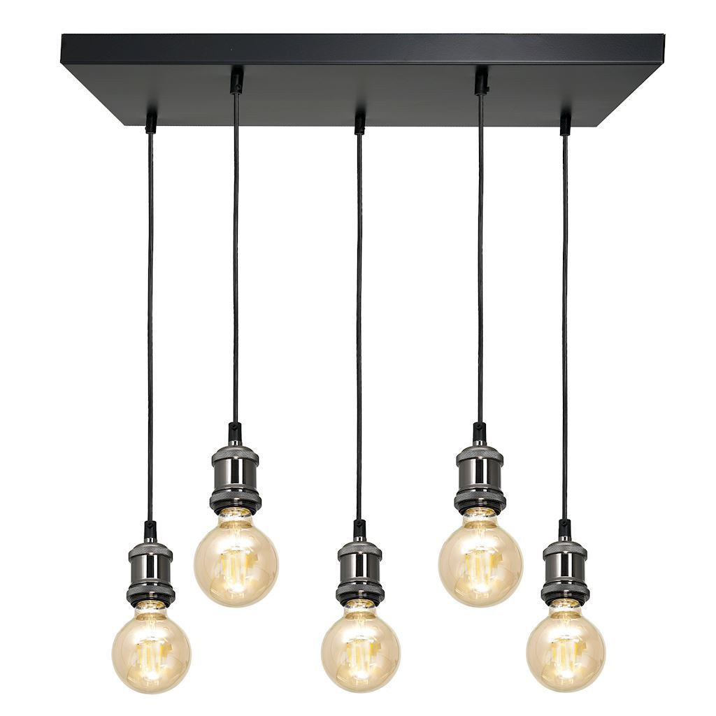 Černá závěsná lampa Edison Black / Chrome 5x E27