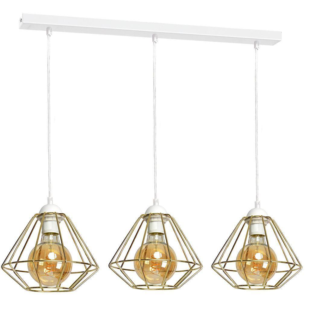 Bílá závěsná lampa Lupo bílá / zlatá 3x E27