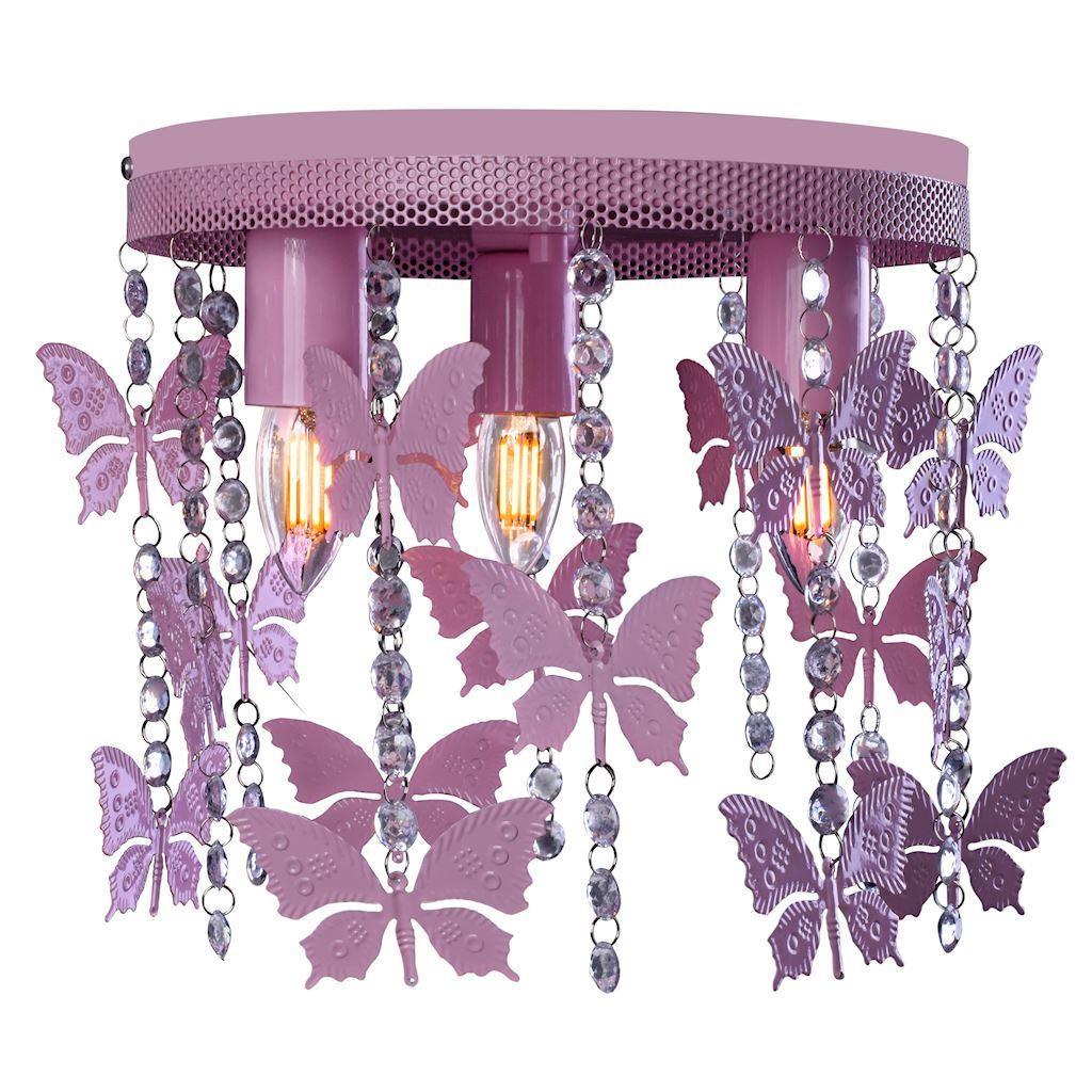 Růžová stropní lampa Angelica 3x E27