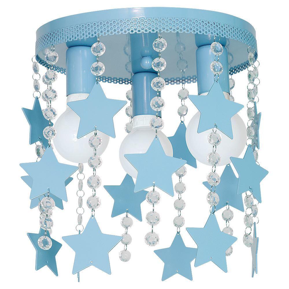 Modrá stropní lampa Star 3x E27