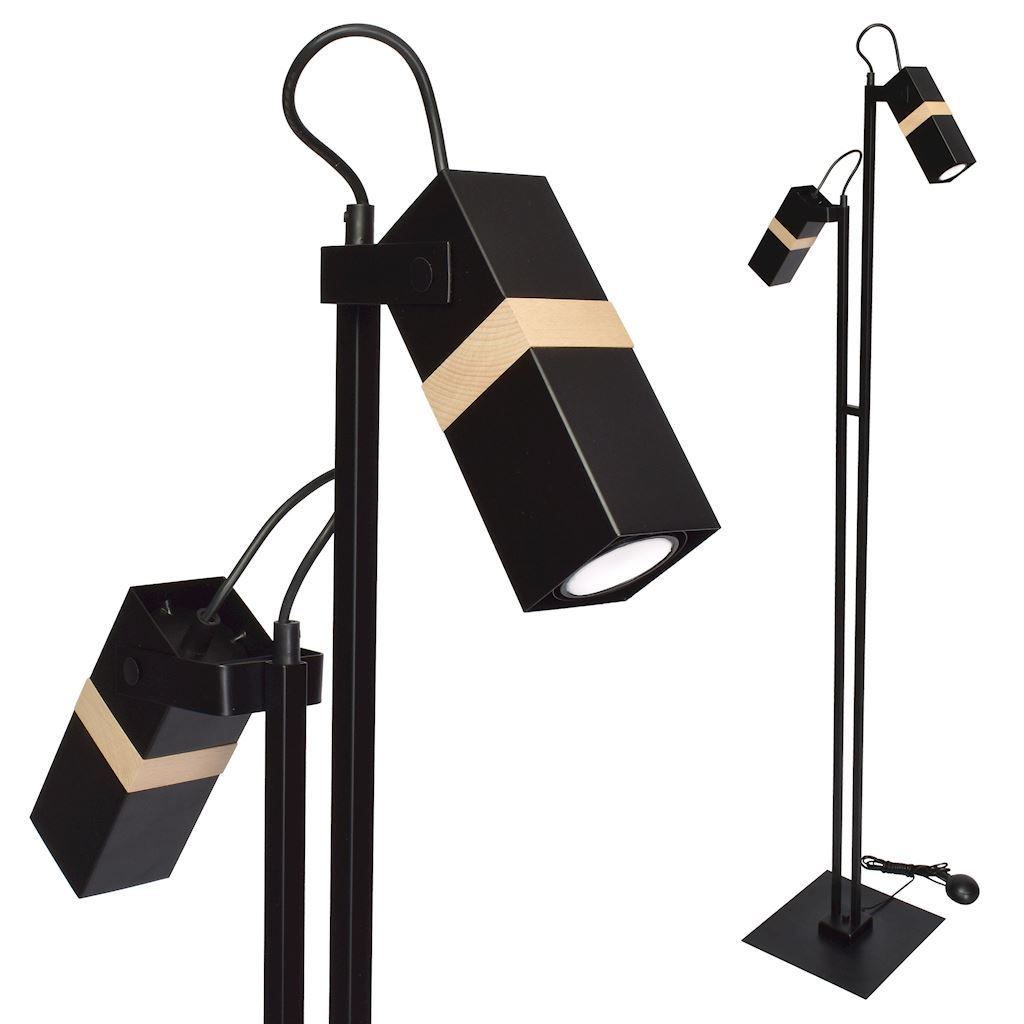 Černá stojací lampa Vidar Black 2x Gu10