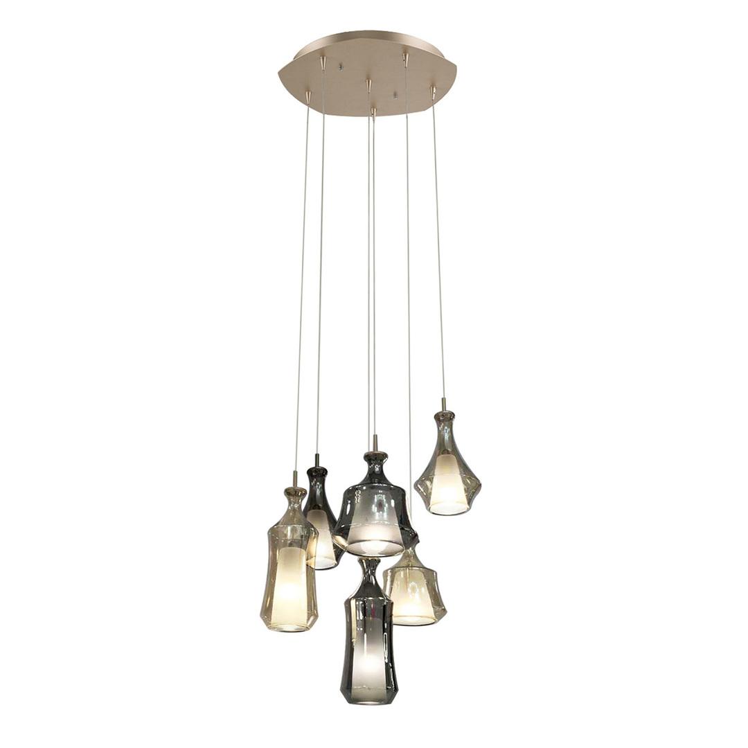 Zlatá závěsná lampa Vives 6-žárovka E14