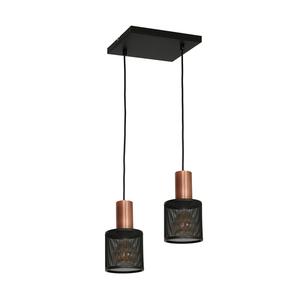 Černá závěsná lampa Ares Black 2x E27 small 0