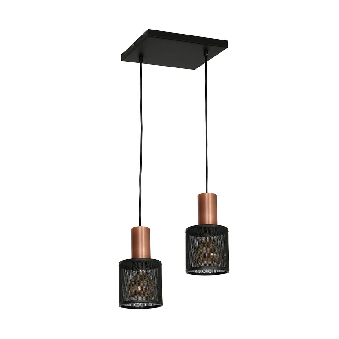 Černá závěsná lampa Ares Black 2x E27