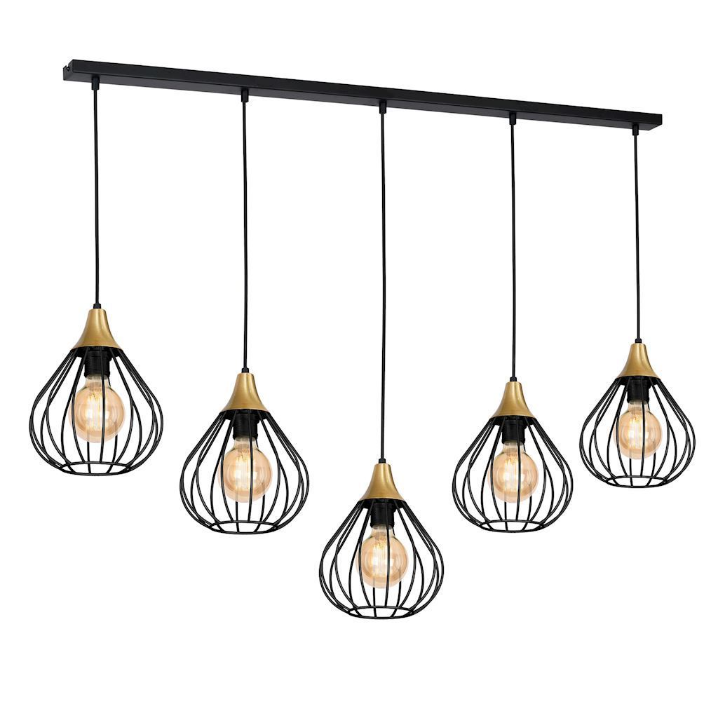 Černá závěsná lampa Kane Black 5x E27