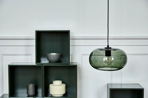 FRANDSEN závěsná lampa KOBE zelená - sklo, kov small 1