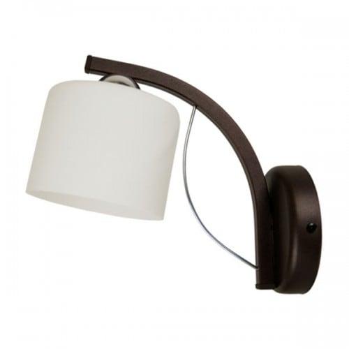 Nástěnná lampa Colin hnědé rameno, bílý stín