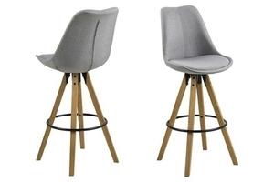 Čalouněná barová židle ACTONA DIMA - světle šedá, dřevěné nohy small 0