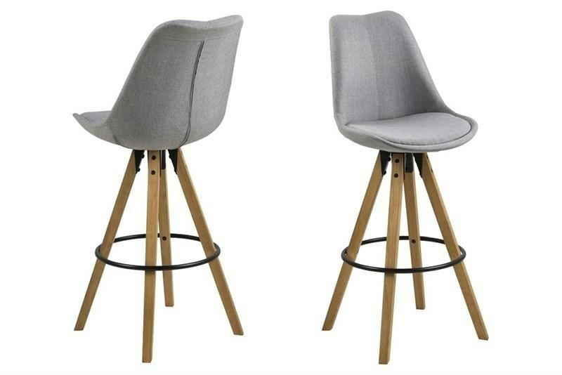 Čalouněná barová židle ACTONA DIMA - světle šedá, dřevěné nohy
