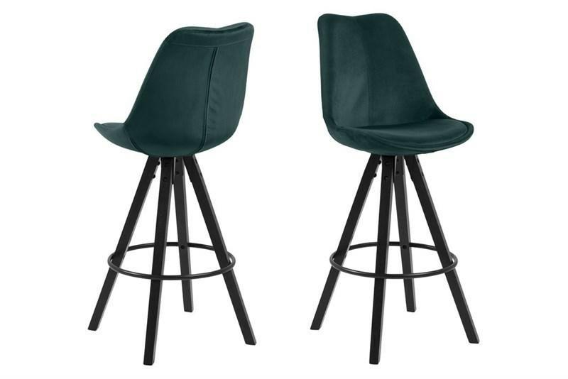 Čalouněná barová židle ACTONA DIMA - láhev zelená, černé nohy