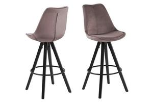 Čalouněná barová židle ACTONA DIMA - špinavě růžové, černé nohy small 0