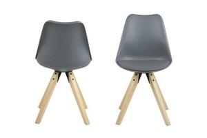 Židle ACTONA z ekokože / PP DIMA - šedá, dřevěné nohy small 1