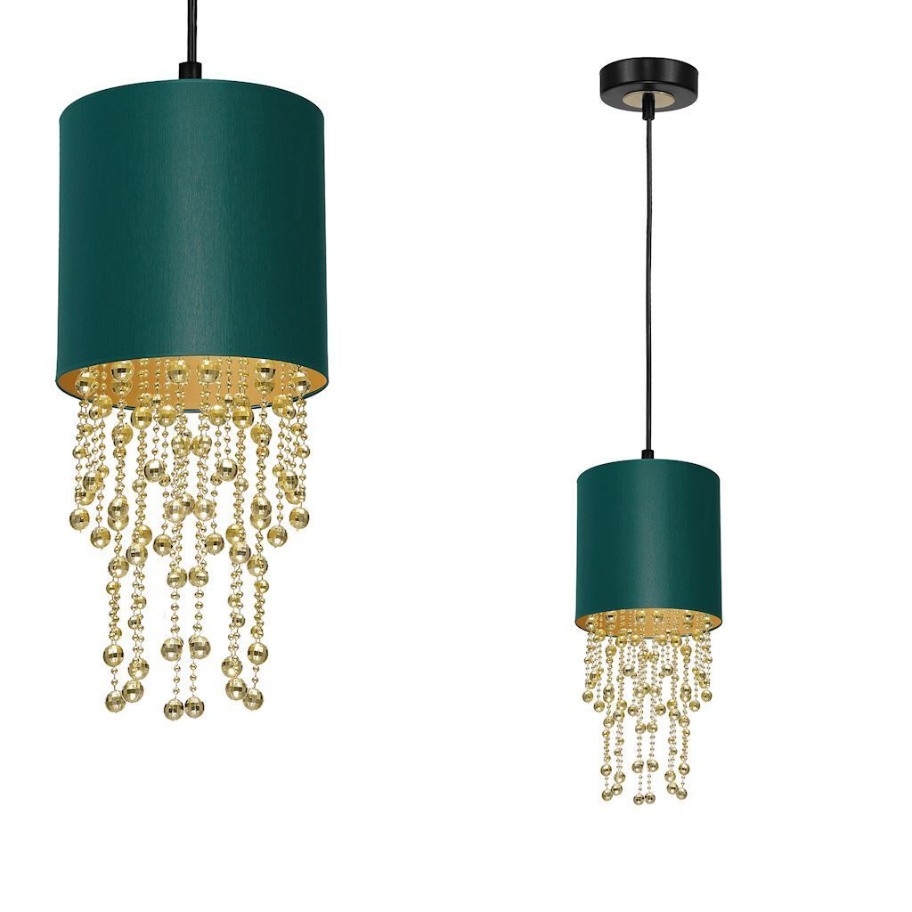 Závěsná lampa Almeria zelená / zlatá 1x E27