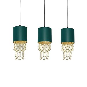 Závěsná lampa Almeria zelená / zlatá 3x E27 small 2