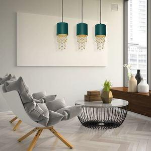 Závěsná lampa Almeria zelená / zlatá 3x E27 small 4