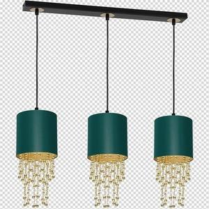Závěsná lampa Almeria zelená / zlatá 3x E27 small 7