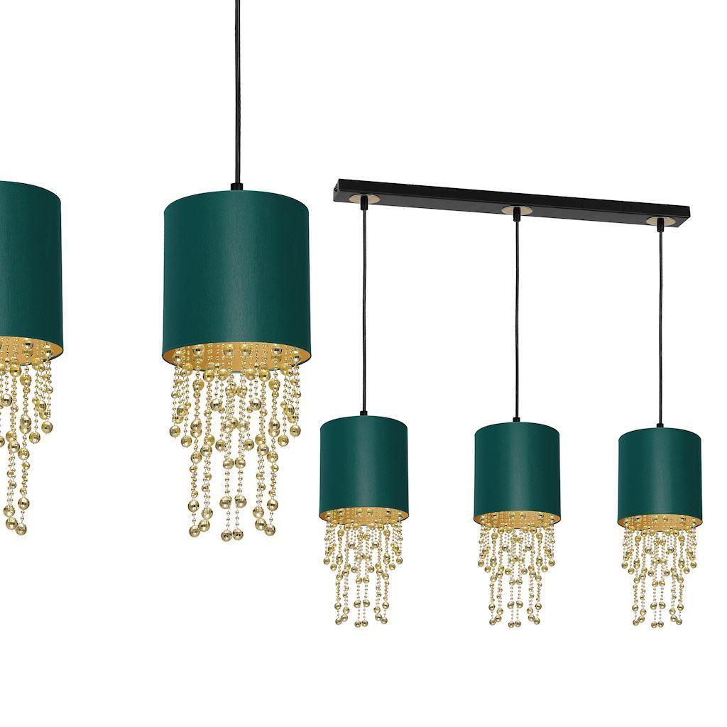 Závěsná lampa Almeria zelená / zlatá 3x E27