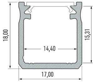 Černý hliníkový profil typu Y 2m + odstín mléka small 1