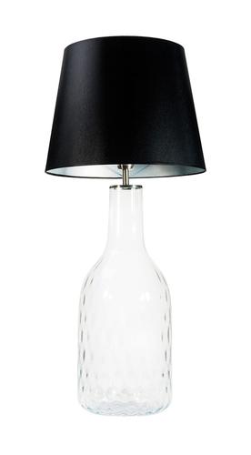 Ručně vyráběná lampa Famlight Alor Transparentní černá / stříbrná E27 60W průhledná láhev