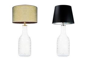 Ručně vyráběná lampa Famlight Alor Transparentní černá / stříbrná E27 60W průhledná láhev small 3