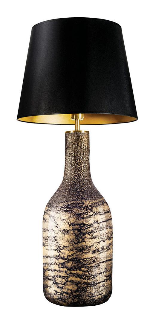 Stolní lampa se stínidlem Famlight Alor černá a zlatá lesklá E27 60W