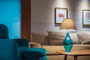 Skleněná stolní lampa Borneo Baltic Green Famlight béžová / bílá E27 60W small 2