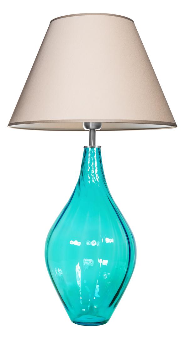 Skleněná stolní lampa Borneo Baltic Green Famlight béžová / bílá E27 60W