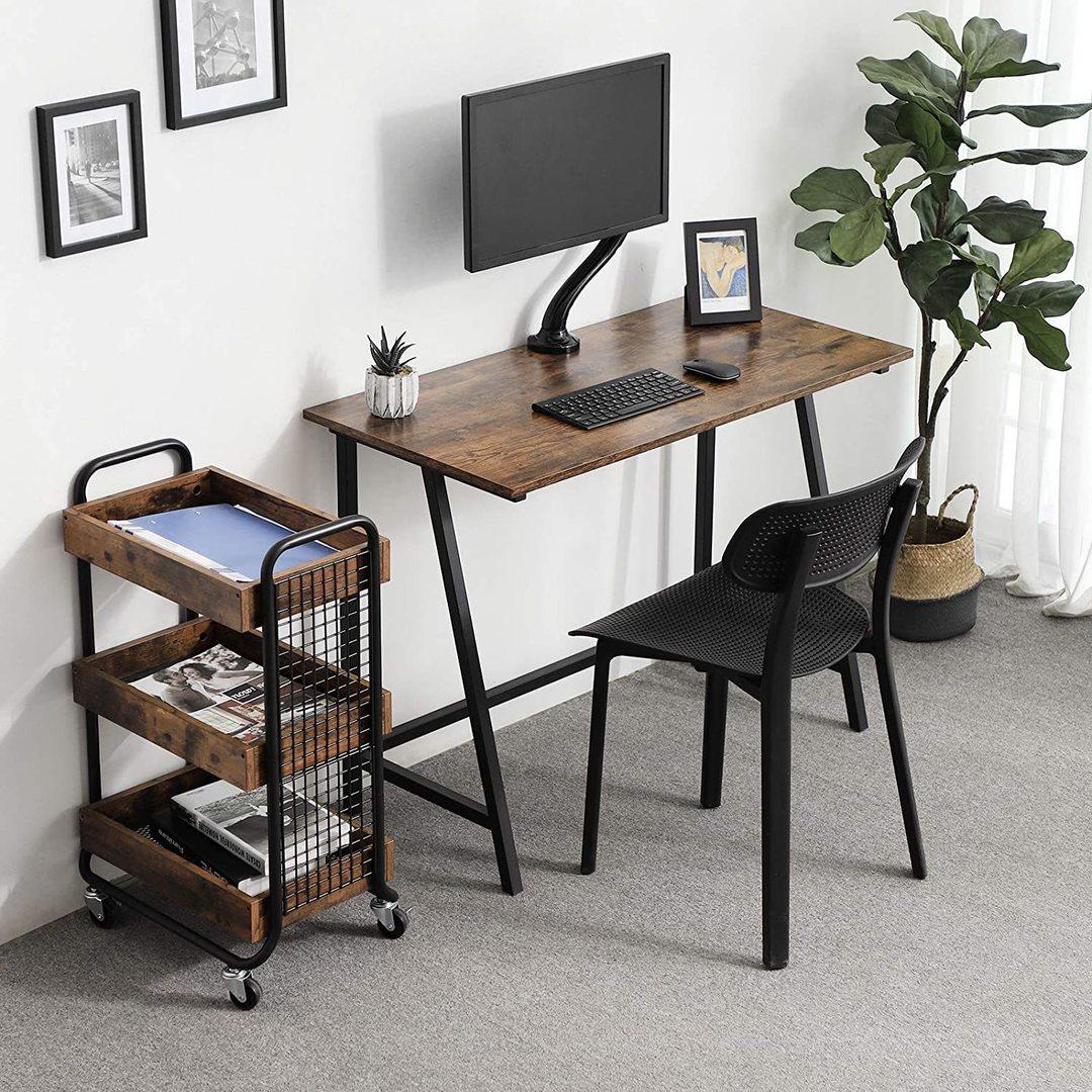 Rustikální hnědý počítačový stůl LWD40X