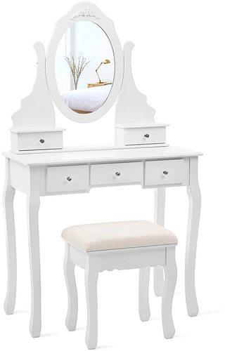 Bílý toaletní stolek se zrcadlem RDT09W