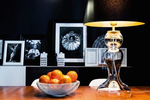 Vysoká stolní lampa Flores Transparent E27 60W černá / stříbrná mat