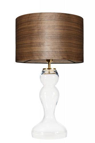 Skleněná stolní lampa Flores Transparent WOOD WALNUT E27 60W mosaz