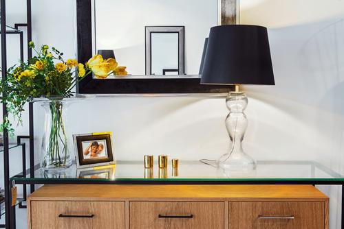 Stolní lampa černá Flores Transparentní matné zlato E27 60W