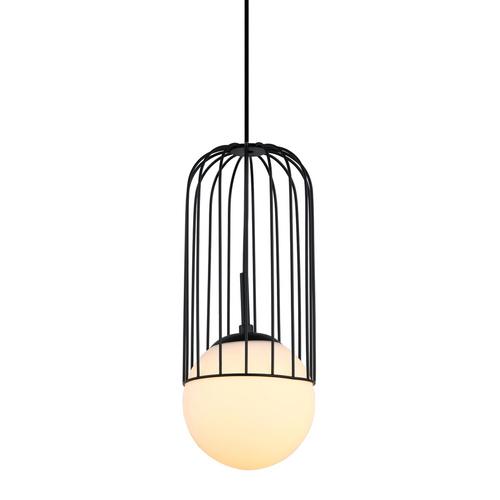 Černá matná závěsná lampa E27