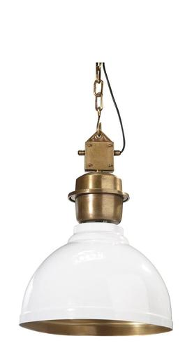 Závěsná lampa Manchester přívěsek bílá / mosaz 35cm - PR Home