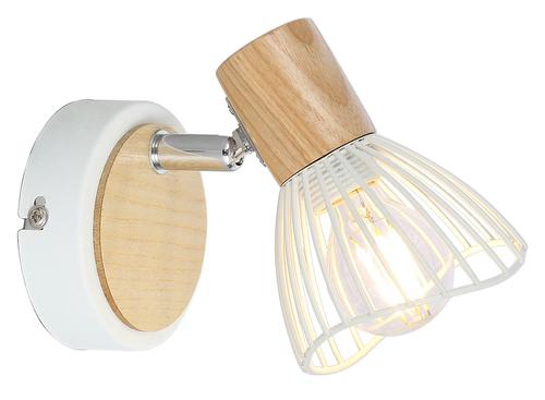 Nástěnná lampa Chile 1Xmax25W E14 bílá + dřevo