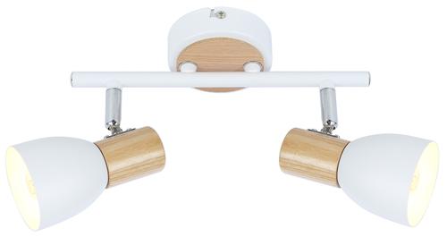 Stropní lampa Anabel 2, 2Xmax25W E14 bílá + dřevo