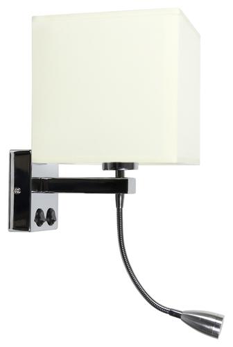 Nástěnná lampa Boho 1X40W E27 + 2W LED chromové stínidlo. Čtvercová béžová 17 cm