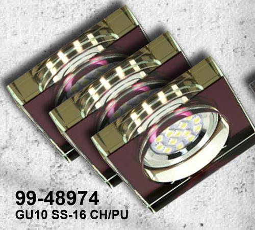 Sada tří svítidel Ss-16 Ch / Pu 3X3W Gu10 LED s LED žárovkou, chromovaný strop, pevné čtvercové fialové sklo