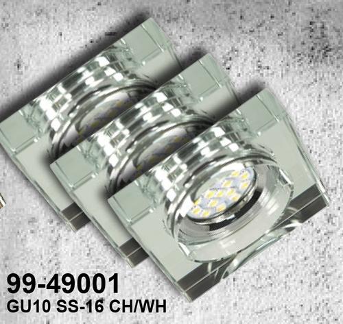Sada tří svítidel Ss-16 Ch / Wh 3X3W Gu10 LED s LED žárovkou Chrome Stropní pevné čtvercové čiré sklo